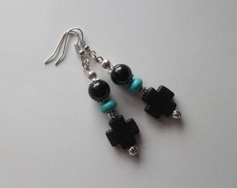 Black Turquoise Cross and Pearl Earrings- Long Dangle Drop Earrings  (559)