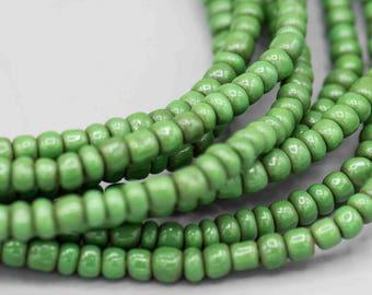 African Ghana Green Glass Seed Beads SKU-SB-6