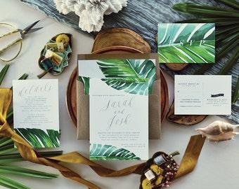 JARAUX SUITE // Tropical Wedding Invitation, Banana Leaf, Tropical Invitation, Beach Wedding, Watercolor, Palm Leaf, Desintation Invitation