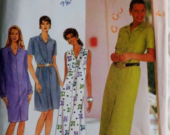 """Womens Sewing Pattern Button Down Dress Sleeveless, Long or Short Sleeves Simplicity 7591 Size 8-12 Bust 31.5-34"""" Uncut"""