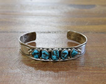 Sterling Silver and Turquoise Nugget Cuff Bracelet by Navajo Kenny Guerro
