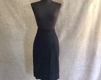Vintage Black Skirt, Black Pencil Skirt, Black 60's Skirt, Striped,  Waist 28, Hip 41, Size Medium