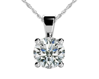 0.15 ct. Ladies Round Cut Diamond Solitaire Pendant with Complimentary Chain