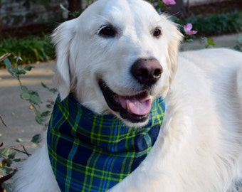 Plaid Flannel Dog Bandana    Personalized Reversible Flannel Pet Scarf    Puppy Gift by Three Spoiled Dogs
