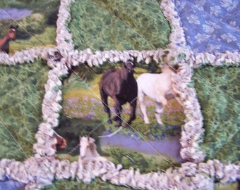 Horse Rag Quilt - Small Rag Quilt - Horse Quilt - Rag Lap Quilt - Horse Rag Lap Quilt - Horse Rag Crib Quilt - Crib Quilt - Rag Crib Quilt