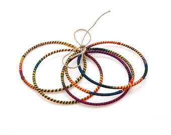 Stacking Bangles, Set of 5 Cotton Wrapped Bracelets, Mix & Match Bangles, Bohemian Bangles, Tribal Bracelets, Hippy Jewelry, Summer Fashion