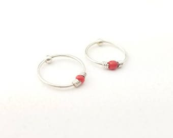 Dainty Vintage Sterling Silver Hoop Earrings with Red Bead- Bead Closure