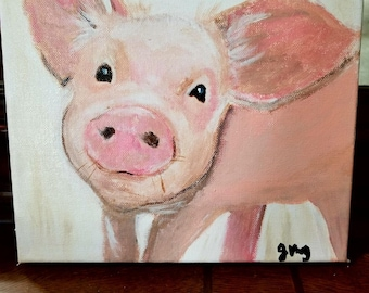 Original Pig Art - Acrylic Painting - Clearance