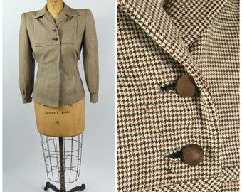 40s Houndstooth Jacket // 36 Bust // Brown and Black Wool Suit Jacket // Nipped Waist Large Shoulder Pads // 40s 50s Fitted Suit Coat