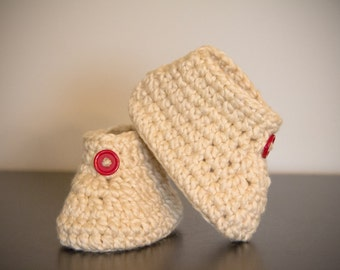 Handmade Crochet 9 to 12 Months 100% Organic Cotton Baby Booties with Red Buttons in Neutral/Beige/Soft Yellow