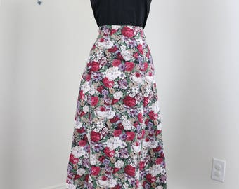 1990s Skirt - A-line Floral Midi Skirt - Romantic Feminine - 100% Cotton - Grey Red White - Summer Spring - Size Medium 28""