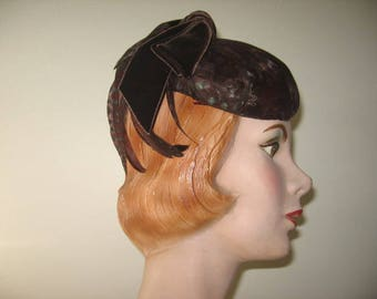 1950's-60's Pheasant Feather Cap, Perfect for Autumn!