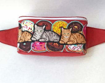 Cats and Donuts Fanny Pack Bum Bag Hip Sack Zippered Bag Festival Gear Rave Wear