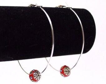 Ruby Kashmiri Uni-Bead Large Hoop Earrings