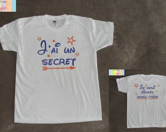 """Personalized kids t-shirt """"I have a secret, I will be soon big brother"""" original pregnancy announcement"""