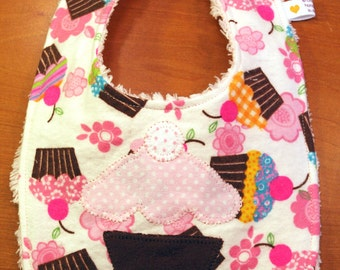 Baby Bib - Cupcake Applique - Girls - Flannel and Chenille