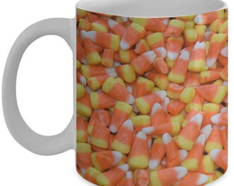 Halloween Candy Corn Coffee Mug - 11 or 15 oz mugs