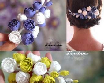 flower hairclip, flower headband, gift for her, sea style, bride jewelry, bridesmaids gift, blue bride , blue jewelry, blue and white