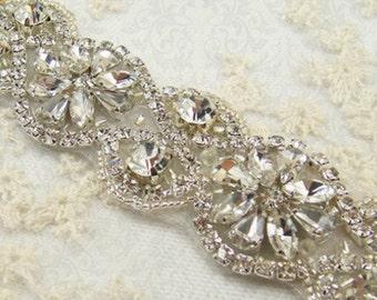 custom made bridal sash, clasp closure, applique only,
