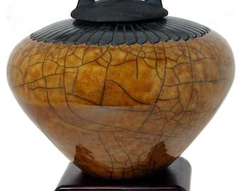 Feather Raku Cremation Urn