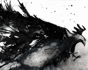 Crow art- Ink on 8x12in canvas, A4, 21x30cm - abstract flying crow
