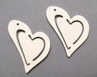 2 large heart charm 50 mm white wood