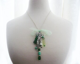Necklace green jewels, teardrop crystal, beads,pendant, emerald green and silver glass and pearls,chains, gift