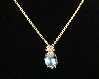 Vintage Sterling Silver Blue Topaz Necklace