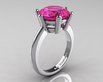 Classic Russian Bridal 14K White Gold 5.0 Carat Pink Sapphire Crown Solitaire Ring RR133-14KWGPS