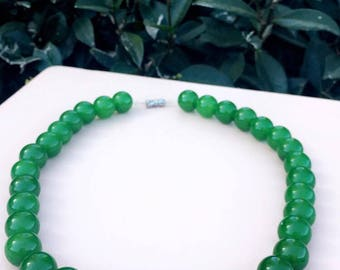 Handcrafted Emerald Jade Necklace; 33 count 12.7mm