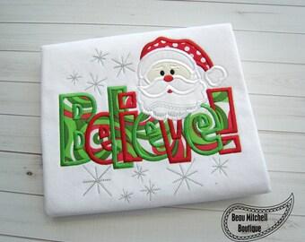 Santa Believe applique embroidery design