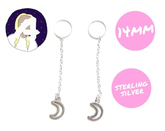 silver moon drop earrings - silver moon dangle earrings - long moon earrings - silver moon earrings - silver moon jewelry