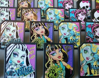 24 MONSTER HIGH rings cupcake toppers cake birthday party favors goodie bags decorations skullette Draculaura Frankie Stein Lagoona Cleo