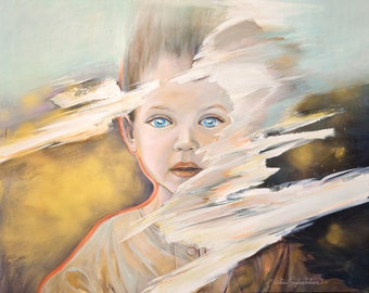 "Child - Original large painting in gold, brown, mint & white, child portrait painting, spray paint artwork app 32x40"" (80x100 cm)"