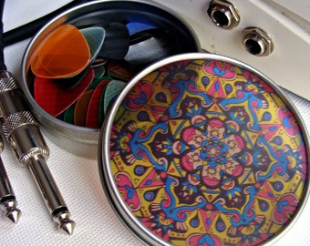 CMYK Mandala Travel Tin - Bohemian Stash Box With Transparent Geometric Suncatcher Lid in Blue Pink Yellow Black - Pillbox - Party Favor