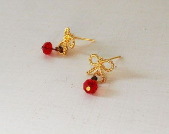 Gold bow stud earrings, Dangle red crystal bow earrings, Cute bow earrings, Cute dangle studs, Red gold earrings, Red crystal earrings