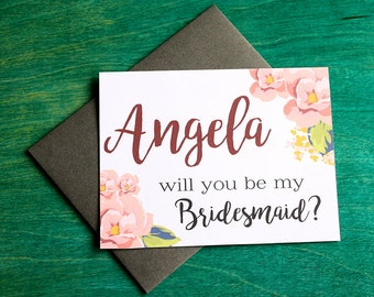 Will you be my Bridesmaid? Floral Greeting Card Note Card - Maid of Honor, Matron of Honor, Bridesmaid Ask Card with Metallic Envelope
