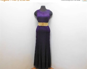 STOREWIDE CLEARANCE Vintage 90s Eggplant Purple Bodycon Lace Bombshell Maxi Dress Flutter Hem Sleeveless Glam Party Gown