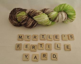 "Hand-dyed yarn, ""Myrtle's Fertile Yard"" variegated, soft and squishy yarn. Great for socks or shawls. 80/20 Superwash wool/Nylon"