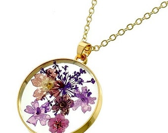 Dried Flower Pendant Necklace, Floral Pendant, Real Flowers, Spring, Summer, Purple, Mothers Day, Bohemian Jewelry, Hippie, Botanical