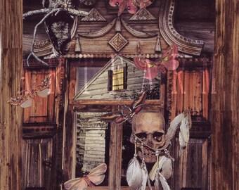 The Cabin - Collage Print Greeting Card  by Amanda Borisenko