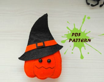 Pumpkin PDF pattern-halloween pumpkin-DIY-Nursery decor-Baby's mobile toy-Felt pumpkin-Kids present-Felt ornament halloween pumpkin