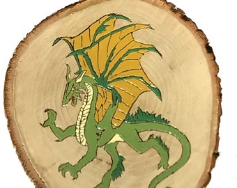 Dragon painting on basswood slab