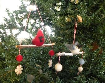 New stolen from winter on branch, New flock of birds winter birds we have branch