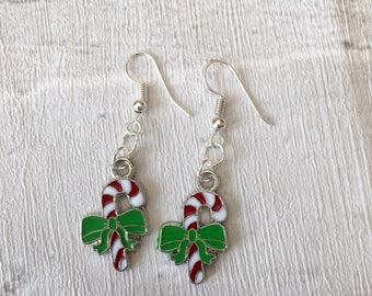 Christmas Candy Cane Earrings, Novelty earrings, Peppermint Stick  Earrings, Christmas Dangle Earrings, Candy Canes, Festive Earrings,Enamel