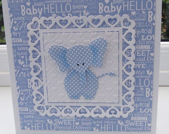 Cute elephant baby boy card