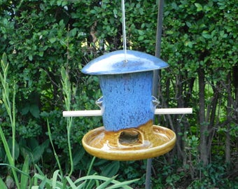 Handmade Pottery Bird Feeder, Bird Feeder, Pottery Bird Feeder, Wheel Thrown and Altered Bird Feeder
