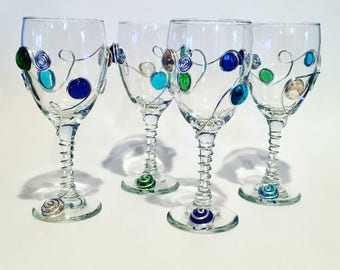 Beaded Wine Glass Set of 4, Wire Wrapped Wine Glass, Wine Charm,Beaded Stemware, Red Wine Glass, Handcrafted