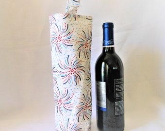 wine tote fireworks display, patriotic gift for hostess, birthday gift bag, housewarming present, born in the USA, celebration party sack