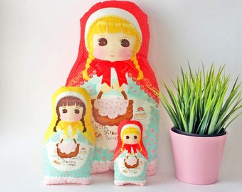 Set of 3 dolls, matryoshka, softie plush doll, babushka, kids decorative pillows, girls room decor, girls pillow, stuffed dolls, girls gift